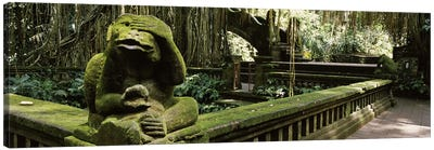 Statue of a monkey in a temple, Bathing Temple, Ubud Monkey Forest, Ubud, Bali, Indonesia Canvas Art Print