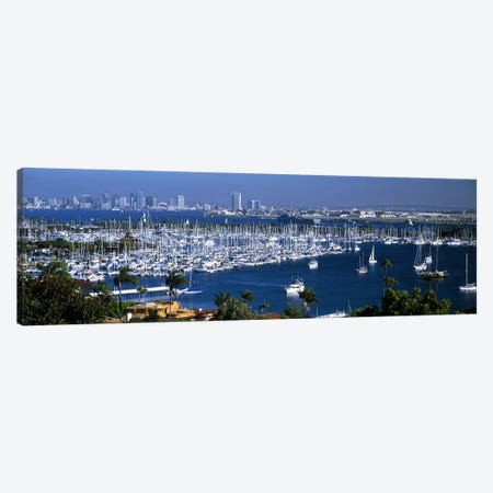 Aerial view of boats moored at a harbor, San Diego, California, USA Canvas Print #PIM7290} by Panoramic Images Canvas Art