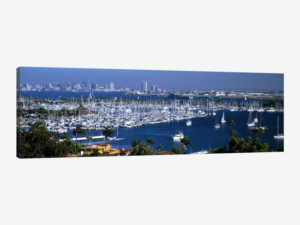 Aerial view of boats moored at a harbor, San Diego, California, USA by Panoramic Images 1-piece Canvas Artwork