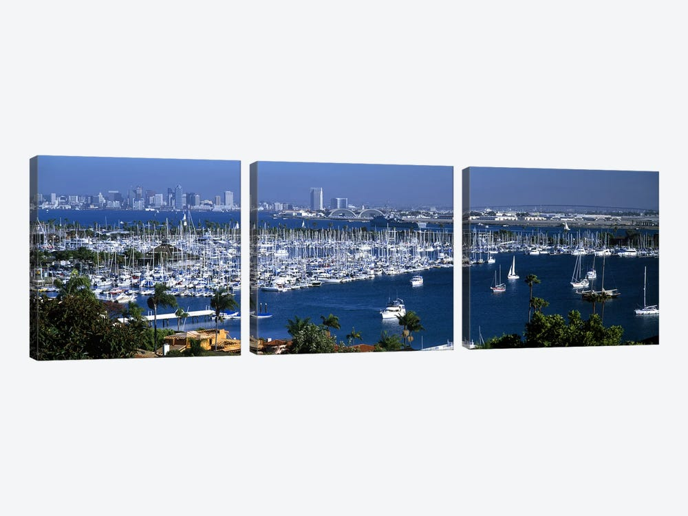 Aerial view of boats moored at a harbor, San Diego, California, USA by Panoramic Images 3-piece Canvas Artwork