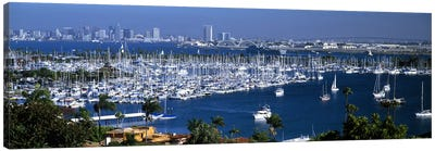 Aerial view of boats moored at a harbor, San Diego, California, USA Canvas Art Print