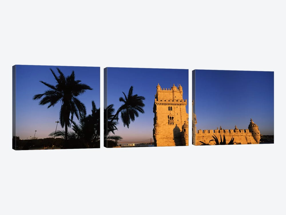 Low angle view of a tower, Torre De Belem, Belem, Lisbon, Portugal by Panoramic Images 3-piece Canvas Artwork