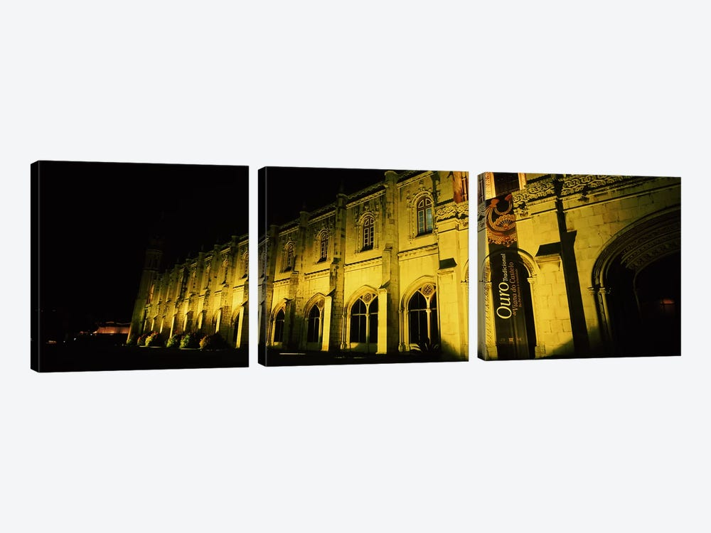 Low angle view of a monastery, Mosteiro Dos Jeronimos, Belem, Lisbon, Portugal 3-piece Canvas Art Print
