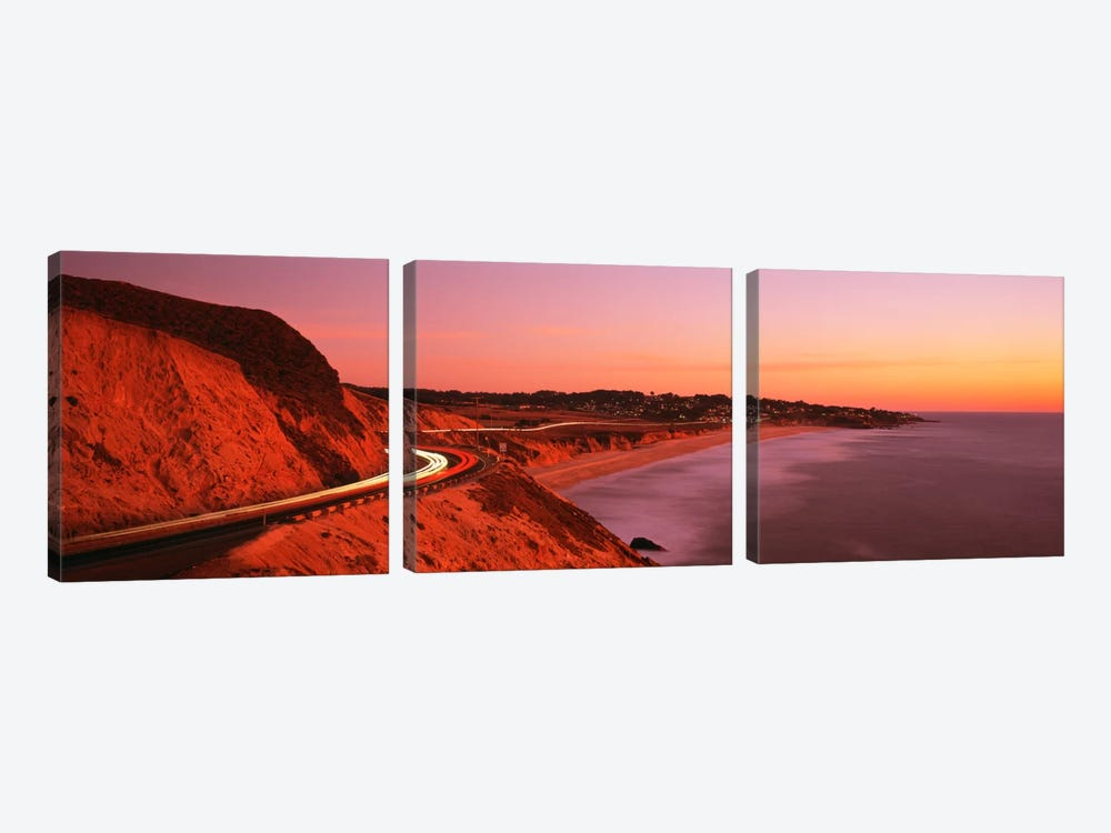 Motion Blur Along A Coastal Landscape At Sunset, California, USA by Panoramic Images 3-piece Canvas Art Print