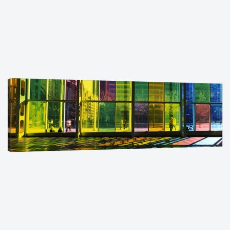 Multi-colored Glass Facade, Palais des congres de Montreal, Villa-Marie, Montreal, Quebec, Canada Canvas Print #PIM7312} by Panoramic Images Canvas Print