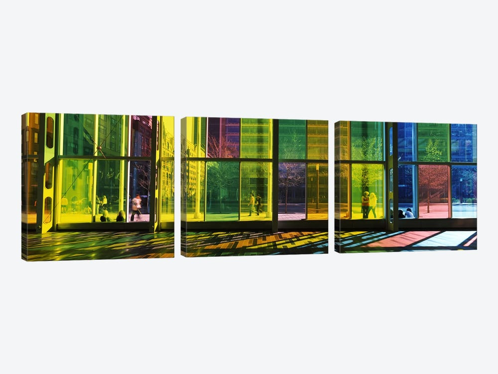 Multi-colored Glass Facade, Palais des congres de Montreal, Villa-Marie, Montreal, Quebec, Canada by Panoramic Images 3-piece Canvas Art Print