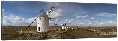 Traditional windmill on a hill, Consuegra, Toledo, Castilla La Mancha, Toledo province, Spain Canvas Art Print