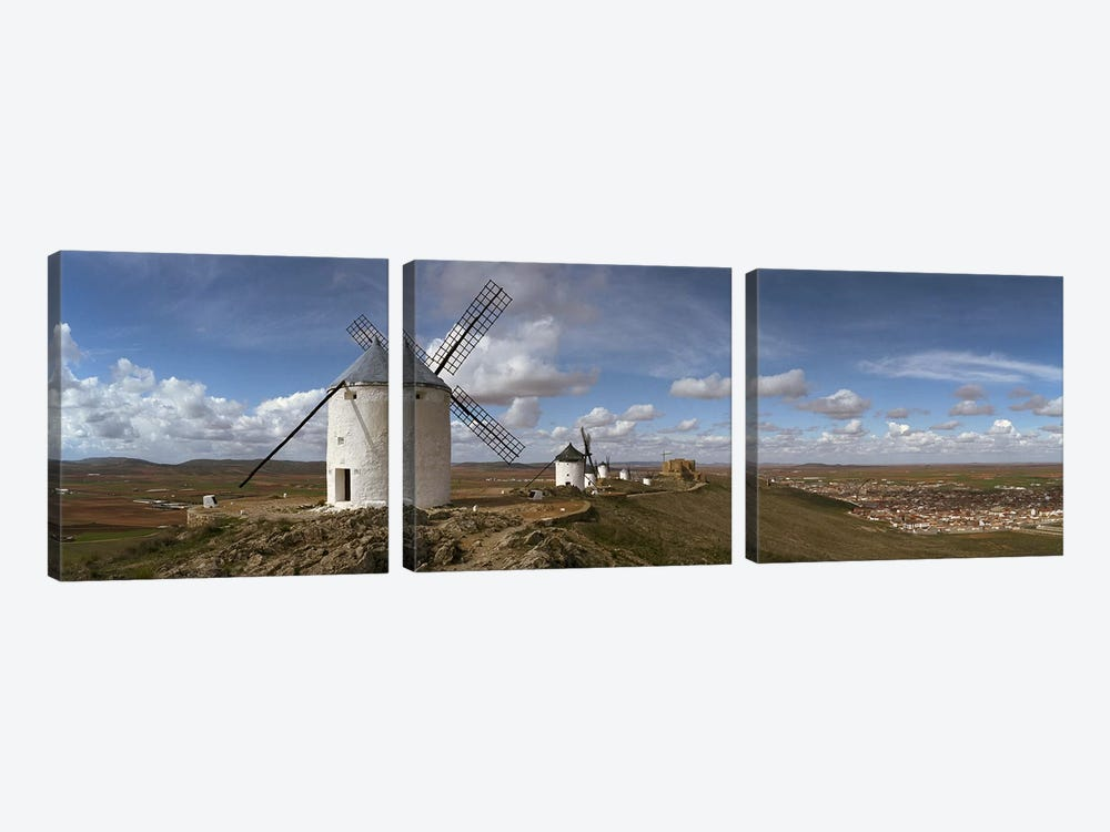 Traditional windmill on a hill, Consuegra, Toledo, Castilla La Mancha, Toledo province, Spain by Panoramic Images 3-piece Canvas Print