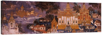 Ramayana murals in a palace, Royal Palace, Phnom Penh, Cambodia Canvas Art Print