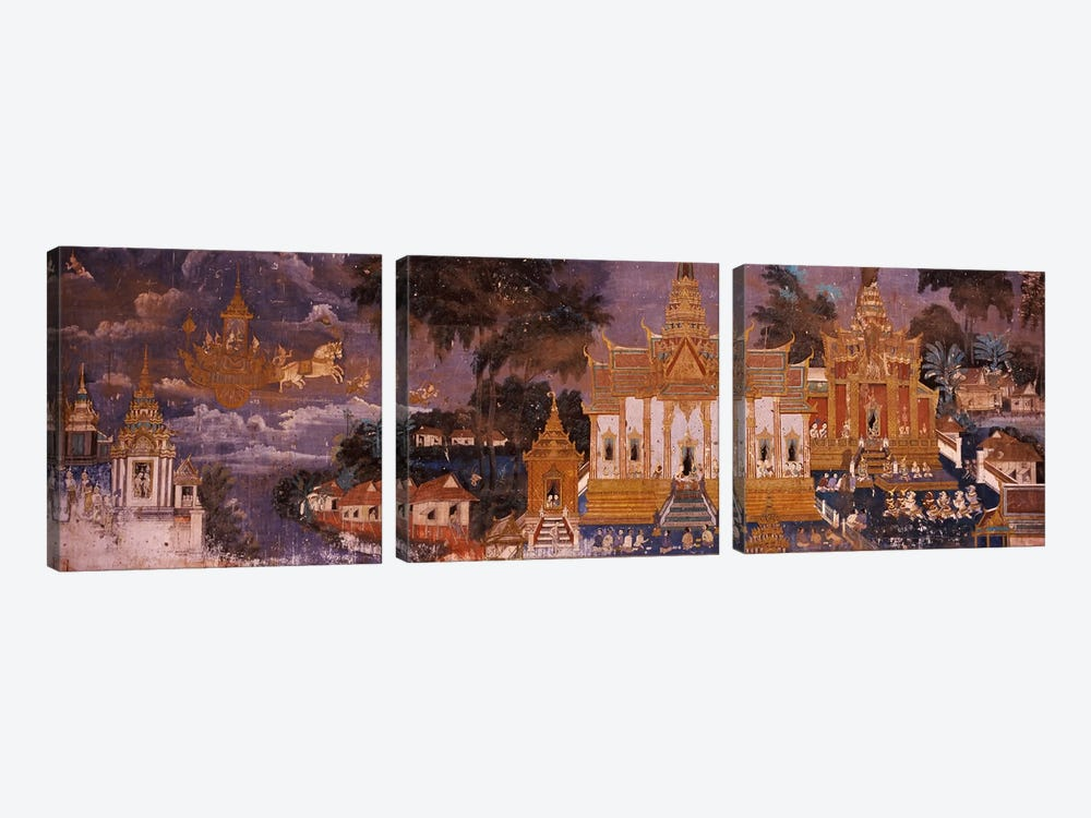 Ramayana murals in a palace, Royal Palace, Phnom Penh, Cambodia by Panoramic Images 3-piece Canvas Art Print