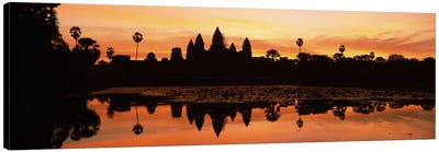 Silhouette of a temple, Angkor Wat, Angkor, Cambodia Canvas Art Print