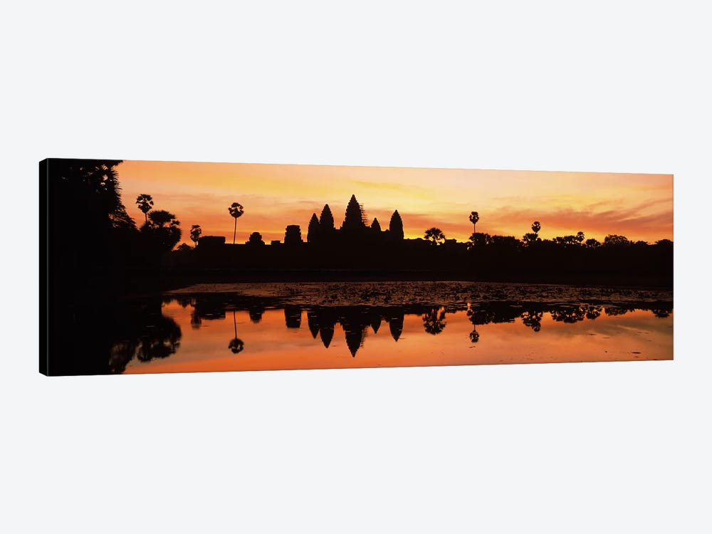 Silhouette of a temple, Angkor Wat, Angkor, Cambodia by Panoramic Images 1-piece Canvas Art