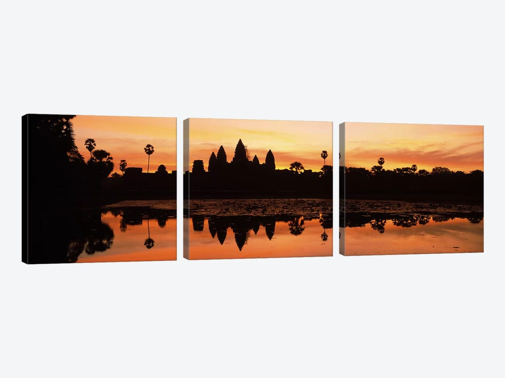 Silhouette of a temple, Angkor Wat, Angkor, Cambodia by Panoramic Images 3-piece Canvas Art