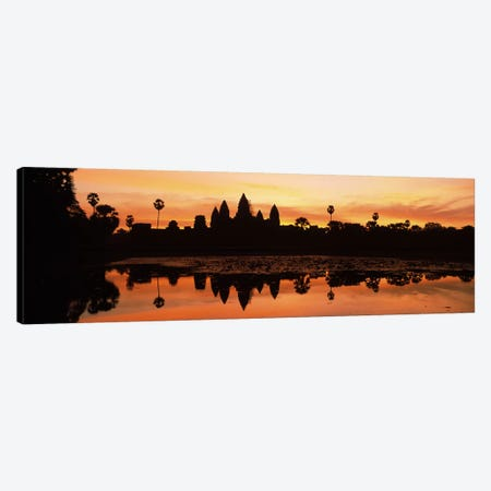 Silhouette of a temple, Angkor Wat, Angkor, Cambodia Canvas Print #PIM7326} by Panoramic Images Canvas Print