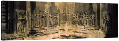 Bas relief in a temple, Angkor Wat, Angkor, Cambodia Canvas Art Print