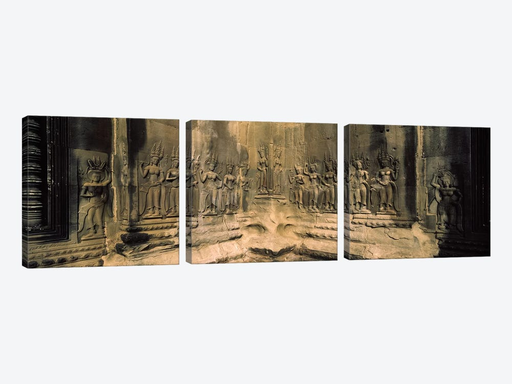 Bas relief in a temple, Angkor Wat, Angkor, Cambodia by Panoramic Images 3-piece Art Print