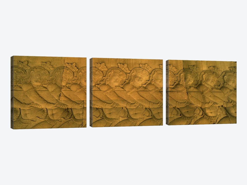 Bas relief in a temple, Angkor Wat, Angkor, Cambodia #2 by Panoramic Images 3-piece Canvas Art