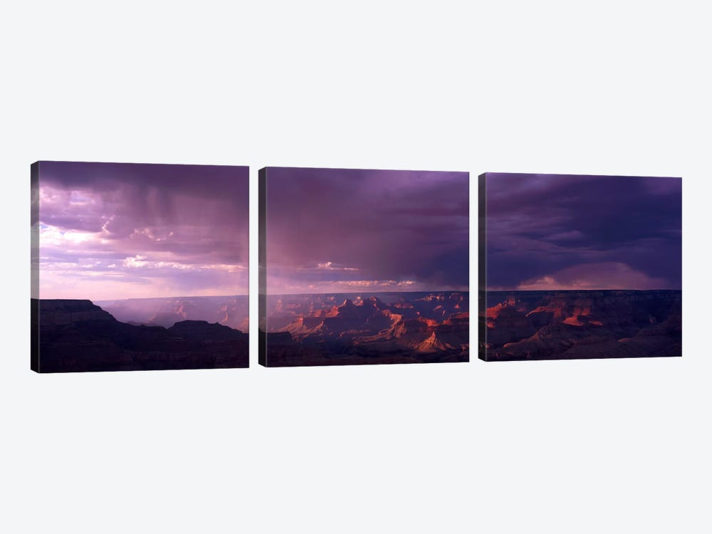 Storm Clouds Over Grand Canyon National Park, Arizona, USA by Panoramic Images 3-piece Canvas Wall Art