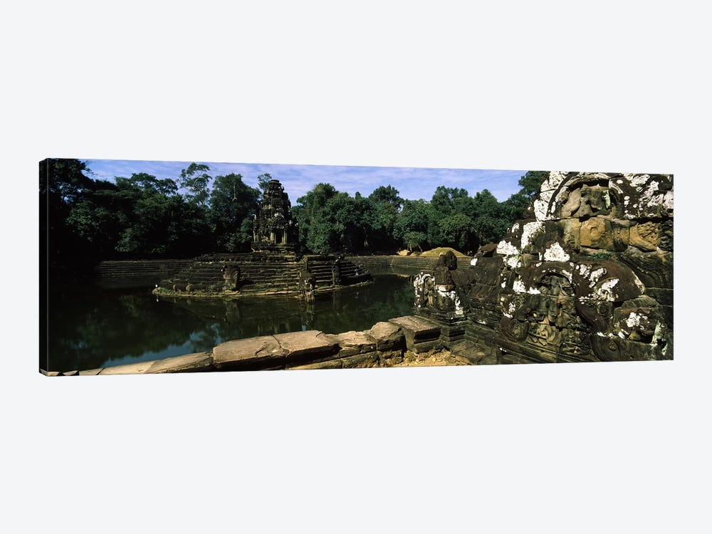 Statues in a temple, Neak Pean, Angkor, Cambodia by Panoramic Images 1-piece Canvas Art Print