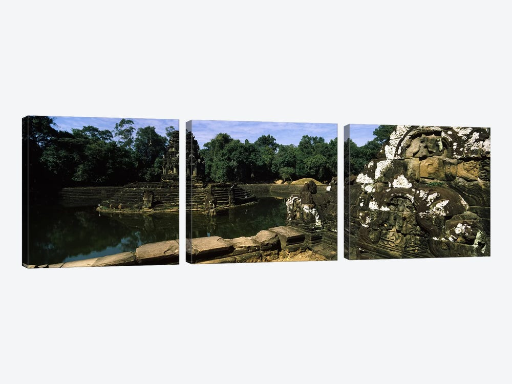 Statues in a temple, Neak Pean, Angkor, Cambodia by Panoramic Images 3-piece Canvas Art Print