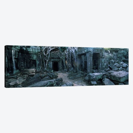 Overgrown tree roots on ruins of a temple, Ta Prohm Temple, Angkor, Cambodia Canvas Print #PIM7332} by Panoramic Images Canvas Print