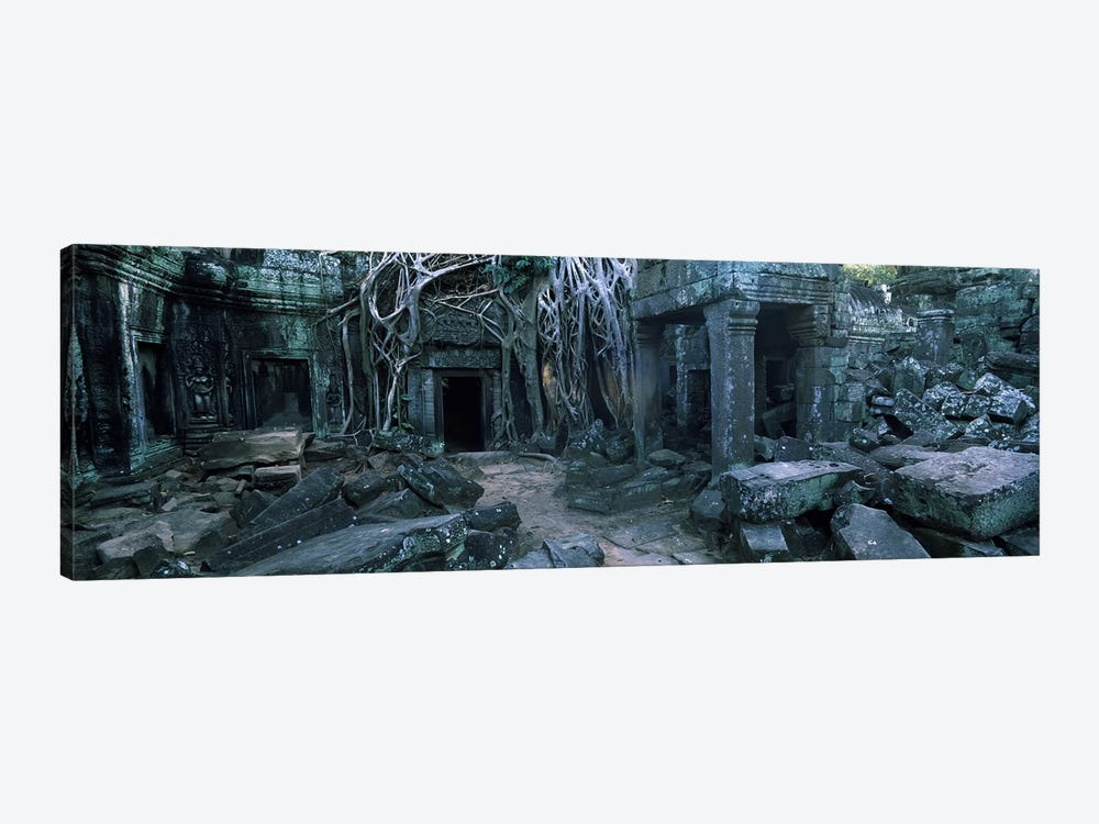 Overgrown tree roots on ruins of a temple, Ta Prohm Temple, Angkor, Cambodia by Panoramic Images 1-piece Art Print