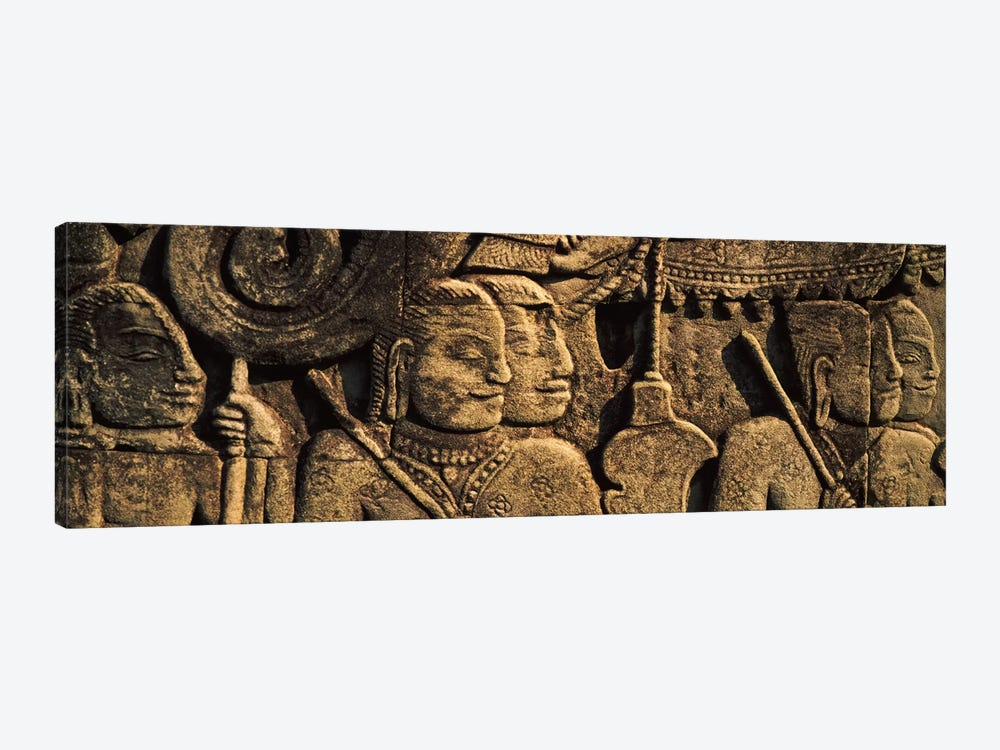 Sculptures in a temple, Bayon Temple, Angkor, Cambodia by Panoramic Images 1-piece Canvas Wall Art
