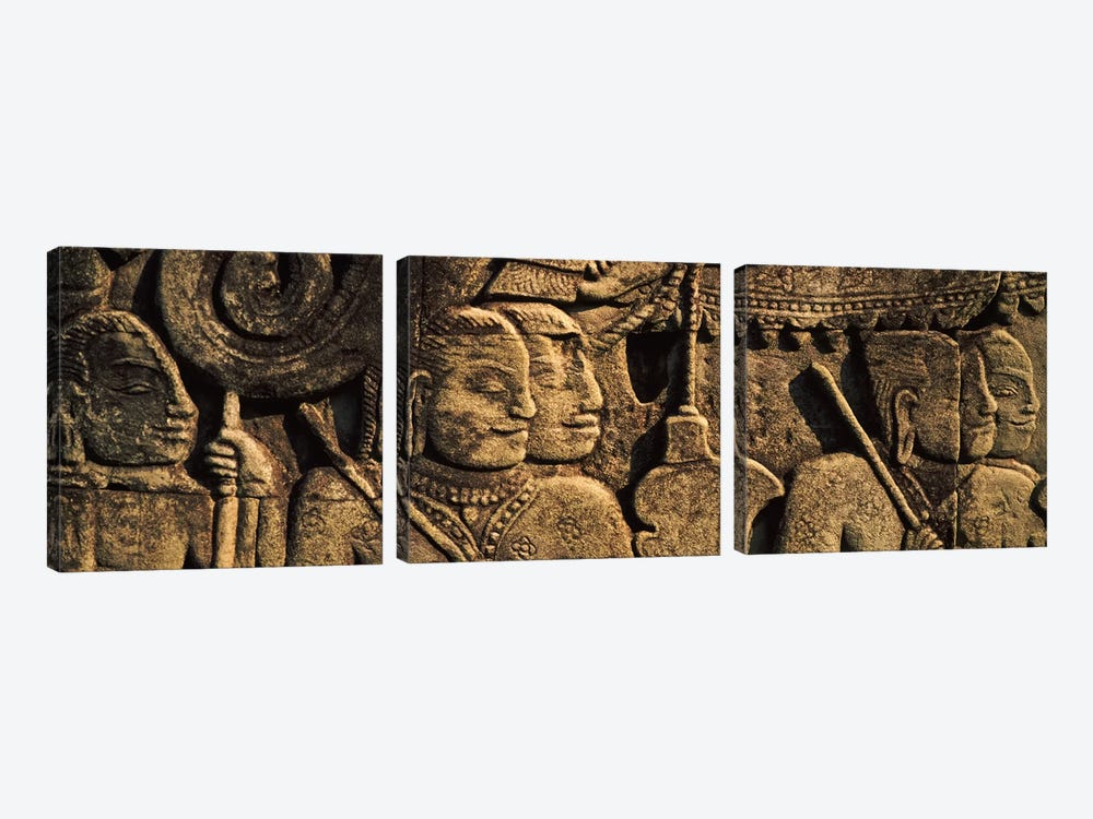 Sculptures in a temple, Bayon Temple, Angkor, Cambodia by Panoramic Images 3-piece Canvas Artwork
