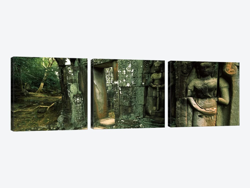 Ruins of a templeBanteay Kdei, Angkor, Cambodia by Panoramic Images 3-piece Canvas Print