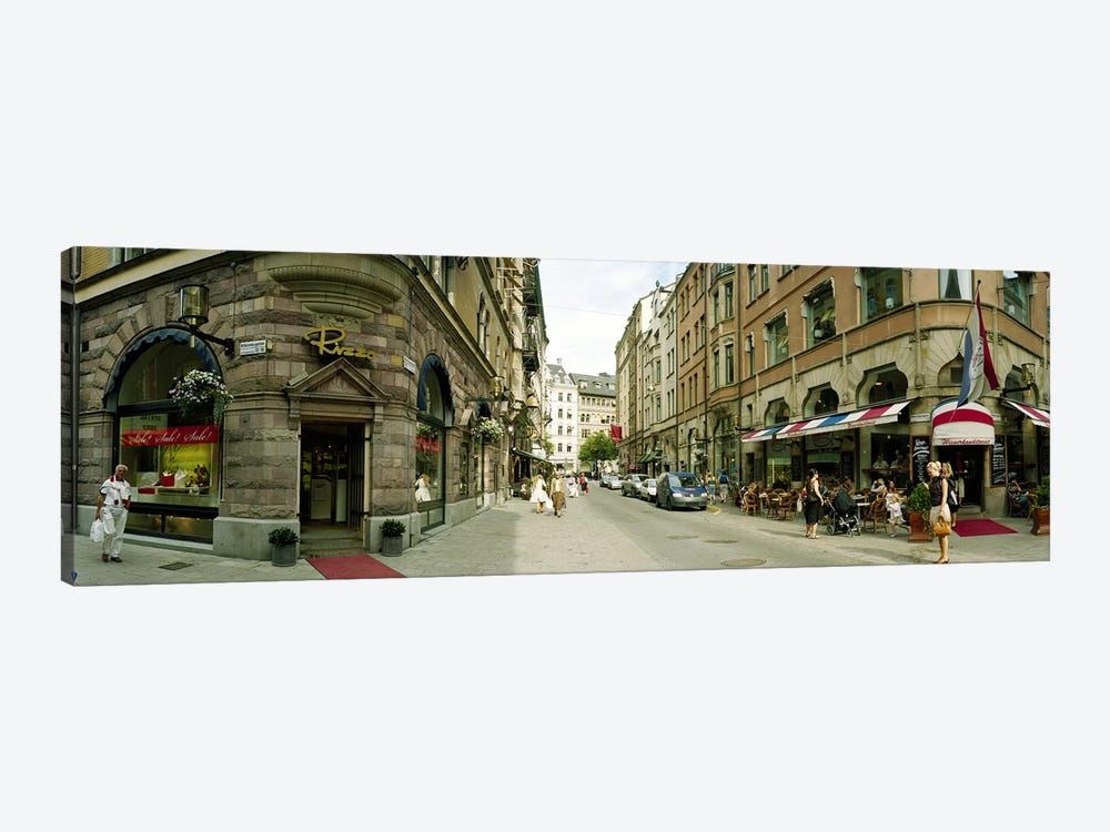 Buildings in a city, Biblioteksgatan and Master Samuelsgatan streets, Stockholm, Sweden by Panoramic Images 1-piece Art Print