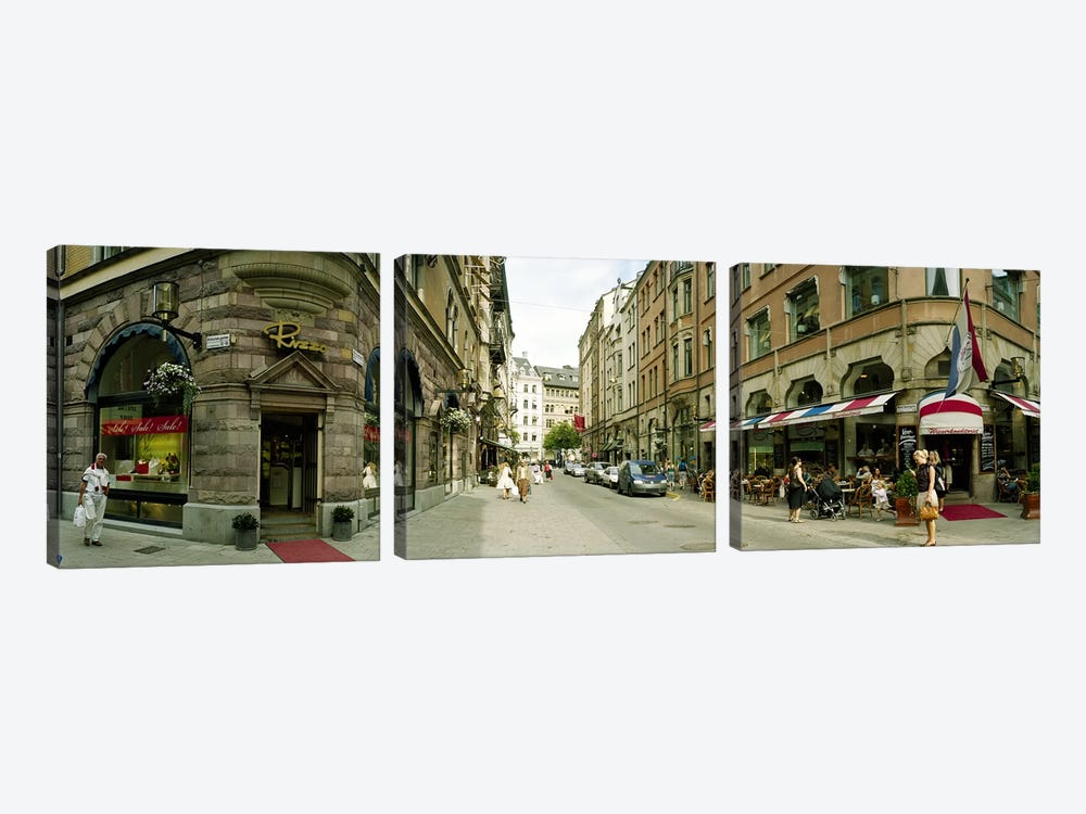 Buildings in a city, Biblioteksgatan and Master Samuelsgatan streets, Stockholm, Sweden by Panoramic Images 3-piece Canvas Art Print