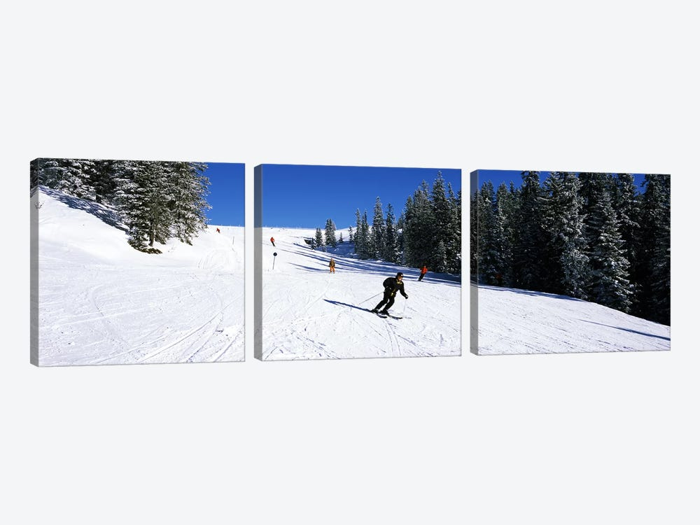 Tourists skiing, Kitzbuhel, Westendorf, Tirol, Austria by Panoramic Images 3-piece Canvas Artwork
