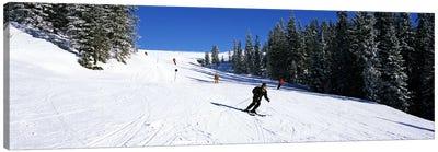 Tourists skiing, Kitzbuhel, Westendorf, Tirol, Austria Canvas Art Print