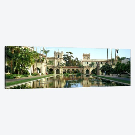 Reflecting pool in front of a building, Balboa Park, San Diego, California, USA Canvas Print #PIM7360} by Panoramic Images Canvas Wall Art