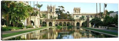 Reflecting pool in front of a building, Balboa Park, San Diego, California, USA Canvas Art Print