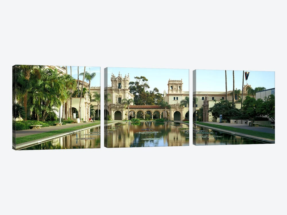 Reflecting pool in front of a building, Balboa Park, San Diego, California, USA by Panoramic Images 3-piece Canvas Wall Art
