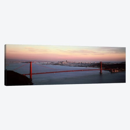 Suspension bridge across a bay, Golden Gate Bridge, San Francisco Bay, San Francisco, California, USA Canvas Print #PIM7363} by Panoramic Images Canvas Artwork
