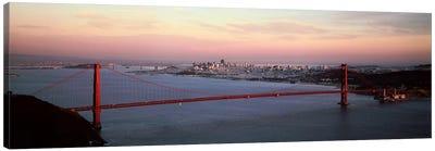 Suspension bridge across a bay, Golden Gate Bridge, San Francisco Bay, San Francisco, California, USA Canvas Print #PIM7363