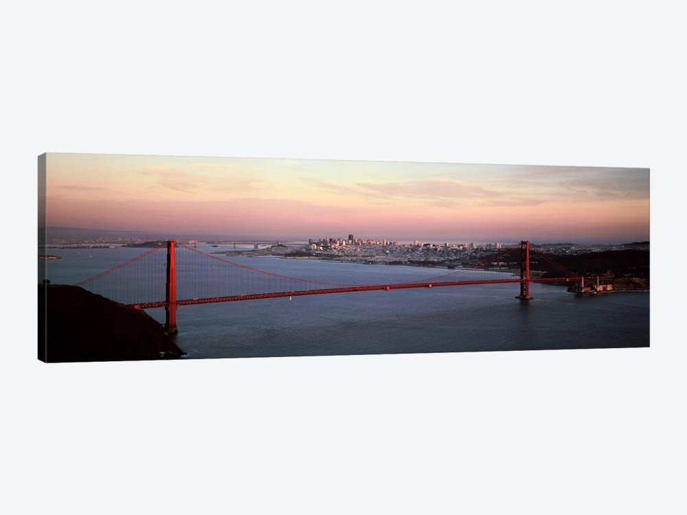 Suspension bridge across a bay, Golden Gate Bridge, San Francisco Bay, San Francisco, California, USA by Panoramic Images 1-piece Canvas Art Print
