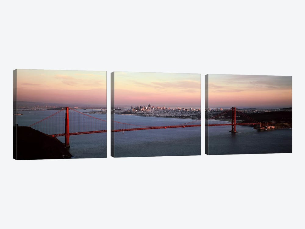 Suspension bridge across a bay, Golden Gate Bridge, San Francisco Bay, San Francisco, California, USA by Panoramic Images 3-piece Canvas Print