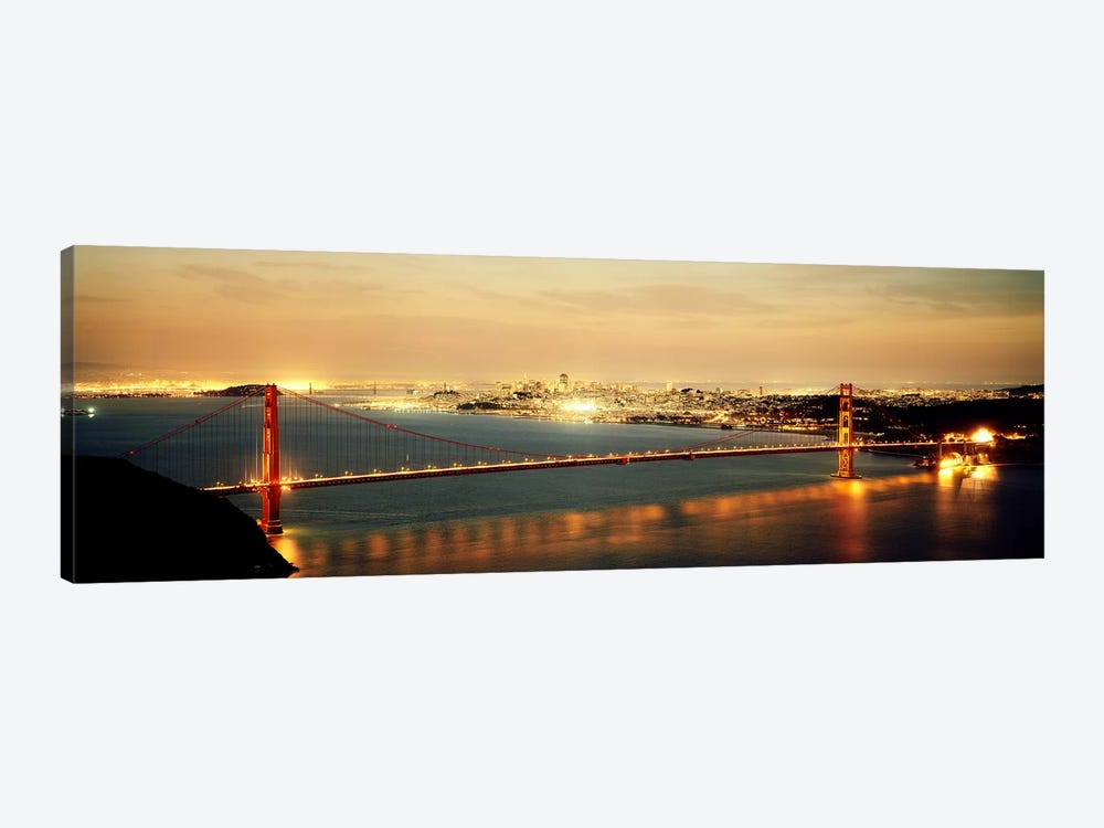 Suspension bridge lit up at dusk, Golden Gate Bridge, San Francisco Bay, San Francisco, California, USA by Panoramic Images 1-piece Canvas Wall Art