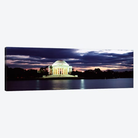 Monument lit up at dusk, Jefferson Memorial, Washington DC, USA Canvas Print #PIM7365} by Panoramic Images Canvas Print
