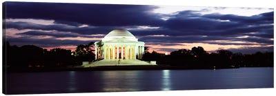Monument lit up at dusk, Jefferson Memorial, Washington DC, USA Canvas Print #PIM7365