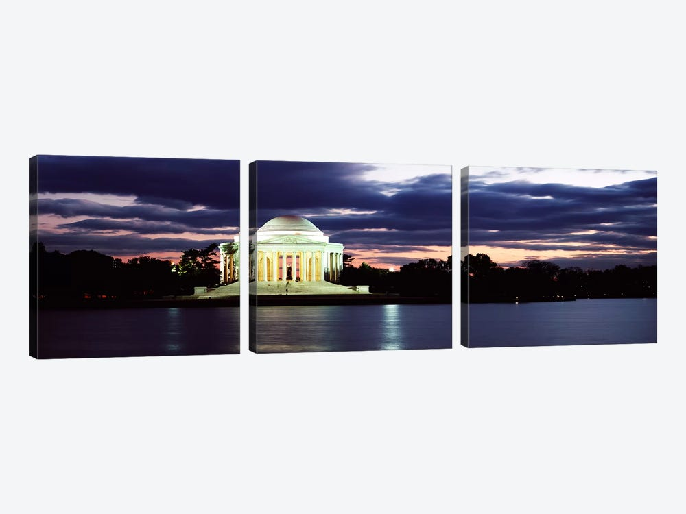 Monument lit up at dusk, Jefferson Memorial, Washington DC, USA by Panoramic Images 3-piece Art Print