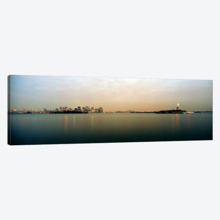 River with the city skyline and Statue of Liberty in the background, New York Harbor, New York City, New York State, USA Canvas Print #PIM7366} by Panoramic Images Canvas Art Print