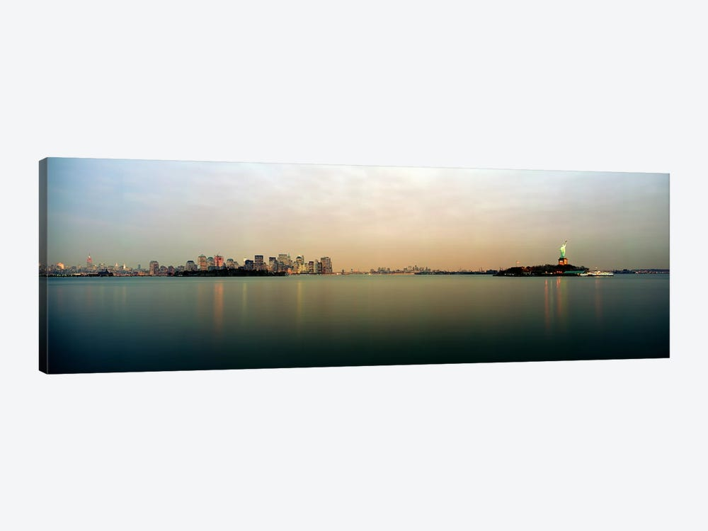 River with the city skyline and Statue of Liberty in the background, New York Harbor, New York City, New York State, USA by Panoramic Images 1-piece Canvas Wall Art