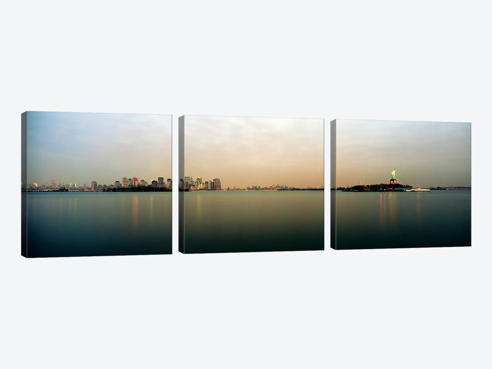 River with the city skyline and Statue of Liberty in the background, New York Harbor, New York City, New York State, USA by Panoramic Images 3-piece Canvas Art