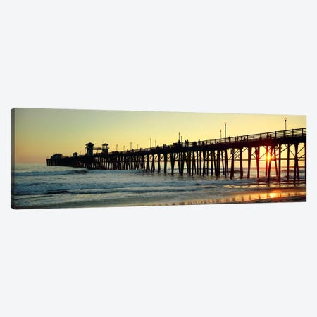Pier in the ocean at sunsetOceanside, San Diego County, California, USA Canvas Print #PIM7367} by Panoramic Images Canvas Art Print