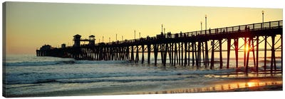 Pier in the ocean at sunsetOceanside, San Diego County, California, USA Canvas Art Print