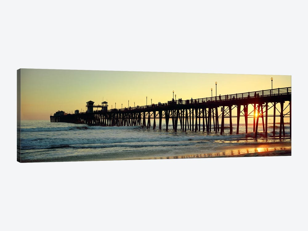 Pier in the ocean at sunsetOceanside, San Diego County, California, USA by Panoramic Images 1-piece Art Print